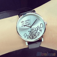 arabic letters - Women s Men s Who Cares Faux Leather Arabic Numerals Letters Printed Wrist Watch MQL WLQ