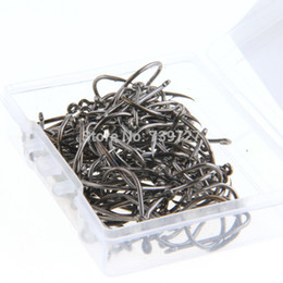 Wholesale Pack Iron Angling Fishing Sharpened Hooks Barb Tackles with Carry Box Black Silver Fit Freshwater Saltwater Area