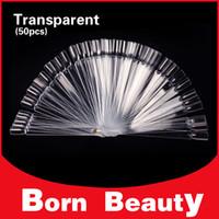 Wholesale Clear False Nail Art Tips Sticks Tips set Polish Color Fan Foldable Practice Nail Display Chart Board Nail Tools
