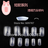 Wholesale bags Clear short square false nail tips Acrylic Nail Art Tips