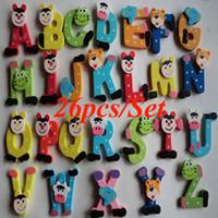 abc kids cartoons - Trustworthy Hot Sale New Kids Toys set Wooden Cartoon Alphabet ABC XYZ Magnets Child Educational Wooden Toy Gift Cami