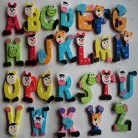 baby jo - 26 Wooden Cartoon Alphabet A Z Magnets Child Educational baby educational Toy Jo