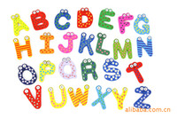 big letter stickers - pc bag Big size CM Letter education toy wooden fridge magnet digital wall stickers