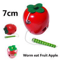 Wholesale Montessori Baby Wooden Toys Learning And Education Children Kids Colorful Wooden Baby Worm Eat Fruit Apple Baby Educational Toys