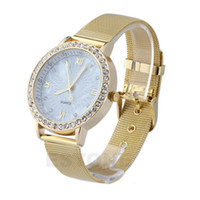 Cheap Wholesale-Elegant Womens Crystal Roman Numerals Golden Plated Metal Mesh Band Wrist Watch