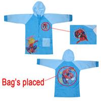 Wholesale Factory Diret Boys Raincoat Kids Rainproof Child Rainwear Spider man Cartton Hooded New Fit yrs Boys Wear Hot Sale
