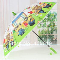 Wholesale Hi Quality Banana Children Rain Umbrellas w Whistle Minions Cartoon Despicable Me Parasol UPF Very Beautiful Mixable Color