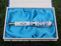 Cheap Hard Cover Gift Pen Unique China Blue and white porcelain Craft Fountain Pens 10pcs Free