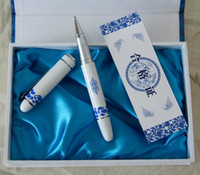 Cheap Cheap Gift Pen China Blue and white porcelain Craft Fountain Pen with Hard Cover Box 10pcs Free