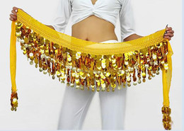 New style belly dance wear paillette coins hip scarf belt yellow