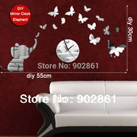 artistic wall clocks - funlife DIY55 cm in Modern Creative Artistic Quartz Novelty Elephant and Butterfly Mirror Wall Clock
