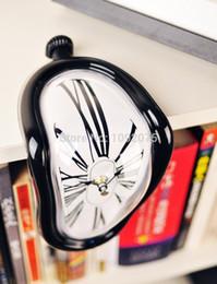 Wholesale Retro Distorted Clock Right Angle Wall Clock Modern Design Melting Time Seated Clocks Home Decor Accept retro clock