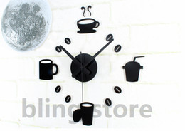 Wholesale bling store Acrylic Mute Stylish Coffee Wall Stickers Clock Funny Home Decoration for Kitchen amp Restaurant