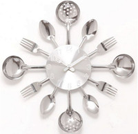 antique forks - wall clock Knife Fork Spoon Originality clock Kitchen Restaurant The wall Decoration quartz metal times mute hour CY001
