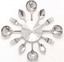 Wholesale wall clock Knife Fork Spoon Originality clock Kitchen Restaurant The wall Decoration quartz metal times mute hour CY001