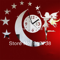 Wholesale Fairy Stars Mirror Wall Clock Kids Room Wall Sticker d Acrylic Decorative Mirrors Clock on Wall