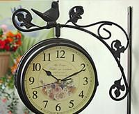 antique garden decor - free ship white birds double face garden clock wall decor mute quartz