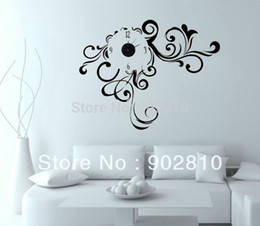 Wholesale listed in stock x80cm x32in Abstract Vinyl Decal Wall Clock Swirly Dreams ultra quiet movement for Decoration