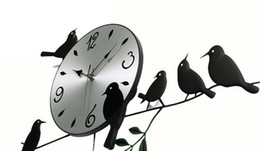 Wholesale New Pastoral Style Stylish Living Room Wall Clock Wrought Iron Bird Swinging Watches Home Decoration Wiggler Clock T