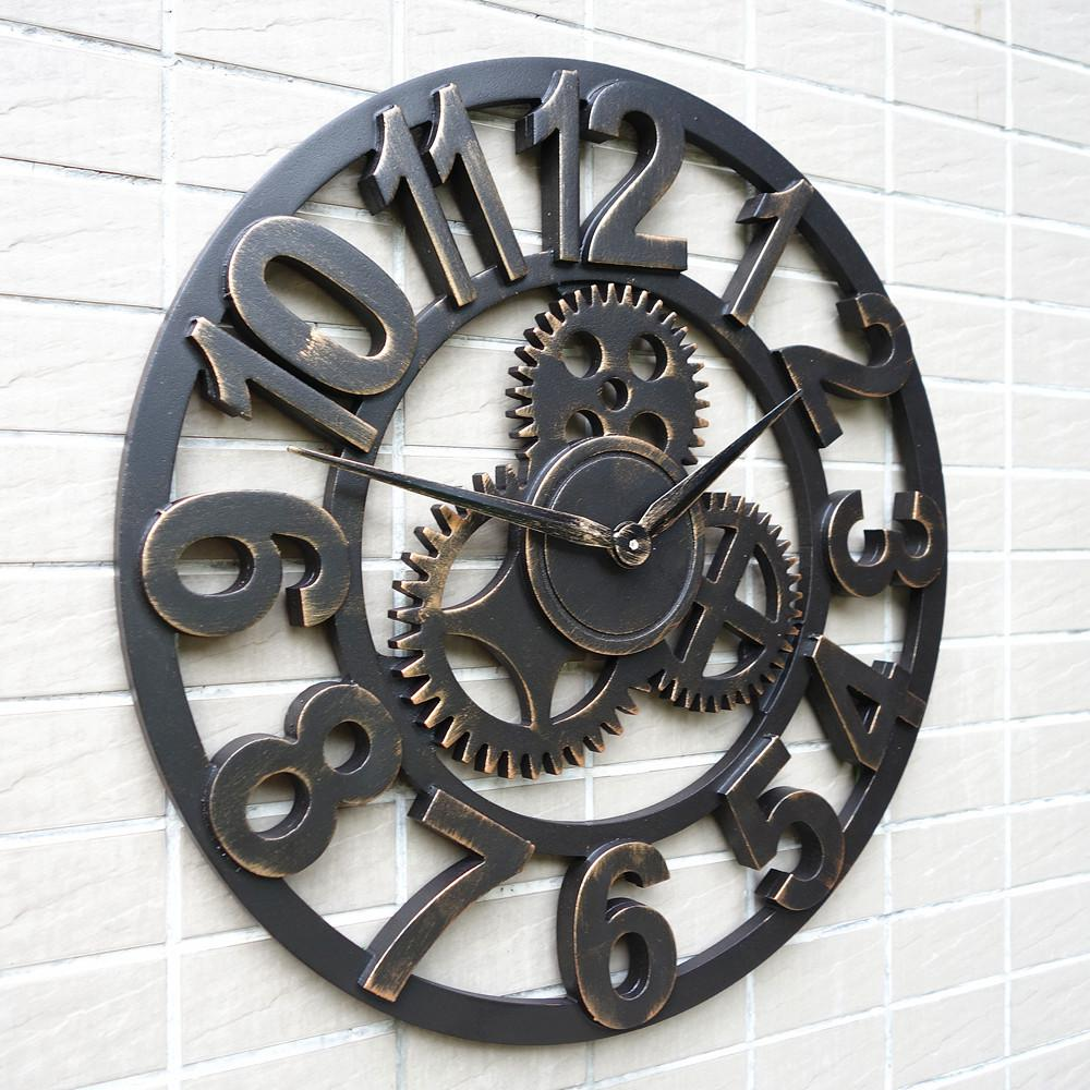 large decorative rustic retro art luxury vintage wooden gear wall clock large on the wall inexpensive large wall clock gears