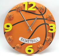 basketball clock - new desigen D creative fashion mute character football basketball wall clock Promotions