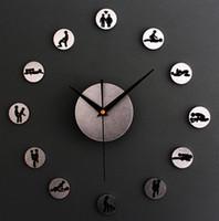 Vente en gros-DIY horloge à quartz amoureux des positions sexuelles nouveauté 3D cercles acrylique métallique sentir horloges murales pour chambre d'intérêt de décoration à la maison
