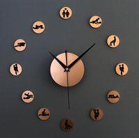 Digital Plastic Multi-piece Set Wholesale-DIY quartz clock lovers sex positions novelty 3D circles acrylic metallic feel wall clocks for bedroom interest home decoration