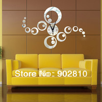 Cheap Wholesale-[listed in stock] - 55*65cm (21.6*25.5in)fashion Simple style Rings and Dots Combination DIY Silent Mirror Wall Clock Decor