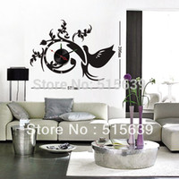 antique furniture phoenix - DIY Wall Clocks Vinyl Black Stickers Moderm Art Novelty Gifts Watch Home Furniture Decoration Phoenix Living Room Hours D040