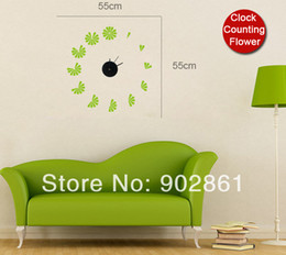 Wholesale funlife cm Round quot Modern wall Clocks Counting Flowers Clock appliques Vinyl Stickers movement included