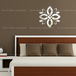 Wholesale Big flower new design mirror wall sticker frame wall stickers luxury home decoration best gift home