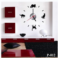 artistic wall stickers - P012 free ship wall clock home decor clocks times cat quartz stickers antique morden fashion new arrived artistic creative