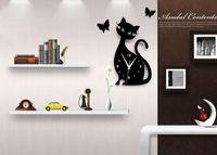 antique kitten - Listed in Stock x21cm x8 in Three dimensional d Acrylic Kitten Black Cat Butterfly Wall Quartz Clock fltb1366