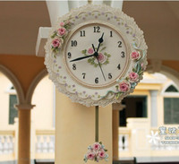 antique garden swing - A009 free ship middle size garden rose wall clock swing mute flower design times hours resin crafts