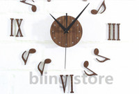 antique musical clocks - bilng store High Quality Creative3D Classic Musical Notes Faux Wood Quartz DIY Wall Stickers Clock for Home Decoration