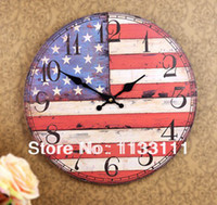 american flag crafts - New Arrival Fashion Home Decoration American Flag Wall Clock Simplicity Crafts Rural Simple Wood Hanging Table Home Goods A101