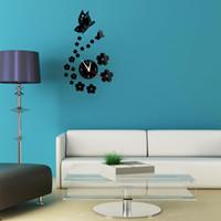 antique european mirrors - New European home decor creative DIY D wall clocks safe hanging mirror living room wall sticker