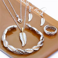 Wholesale Fashion Jewelry Set Feather Piece set Sterling silver Necklace amp Bracelet amp Earrings T117
