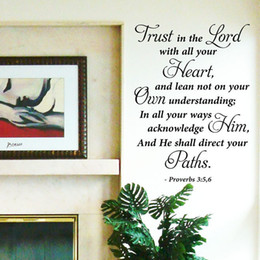 Wholesale Vinyl Wall Art Stickers Large Bible Quote quot Trust in the Lord quot Bedroom Decal