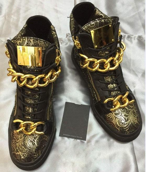 Wholesale Italian Punk Style Fashion Men Gold High Top Shoes ...