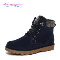 Wholesale Men s Winter Furry Boots Warm Men Ankle Boots With Fur Mens Snow Boots Cheap High Top Punk Shoes Black Booties Size to