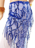Sequin sequin scarves - Tribal blue Belly Dance hip belt scarf wrap crochet shawl Belts Dancing Latin
