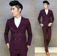 Wholesale Korean Pants For Mens - Wholesale-2015 Fashion Homecoming Suits Korean Men Suit Tuxedos For Men Wedding Dress Jqcket With Pants Mens 3 Piece Suits,Red Blue,M-XXL