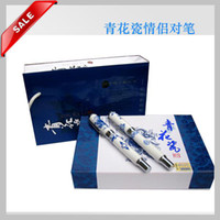 White Calligraphy & Fountain Pens  Party Gift Fountain Pens Unique China Blue and white porcelain Craft Pen with Hard Cover Box 10pcs