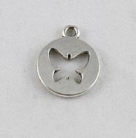 90PCS Tibetan Silver butterfly round charm A9773