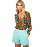 Cheap 2015 Spring Autumn Leopard Print Women Blouse & Shirts Long Sleeve Blusa Femininas Blusa De Renda Q238