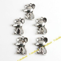 Charms tibetan beads - 120 Animal Alloy pandent Beads Tibetan Silver Mouse Charms Pendants Fit Diy Beads Necklace