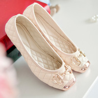 ballet flats - Spring New Sweet Princess flat shoes Casual Metal square toe fashion Women Flats Soft bottom Ballet Shoes Cozy wild