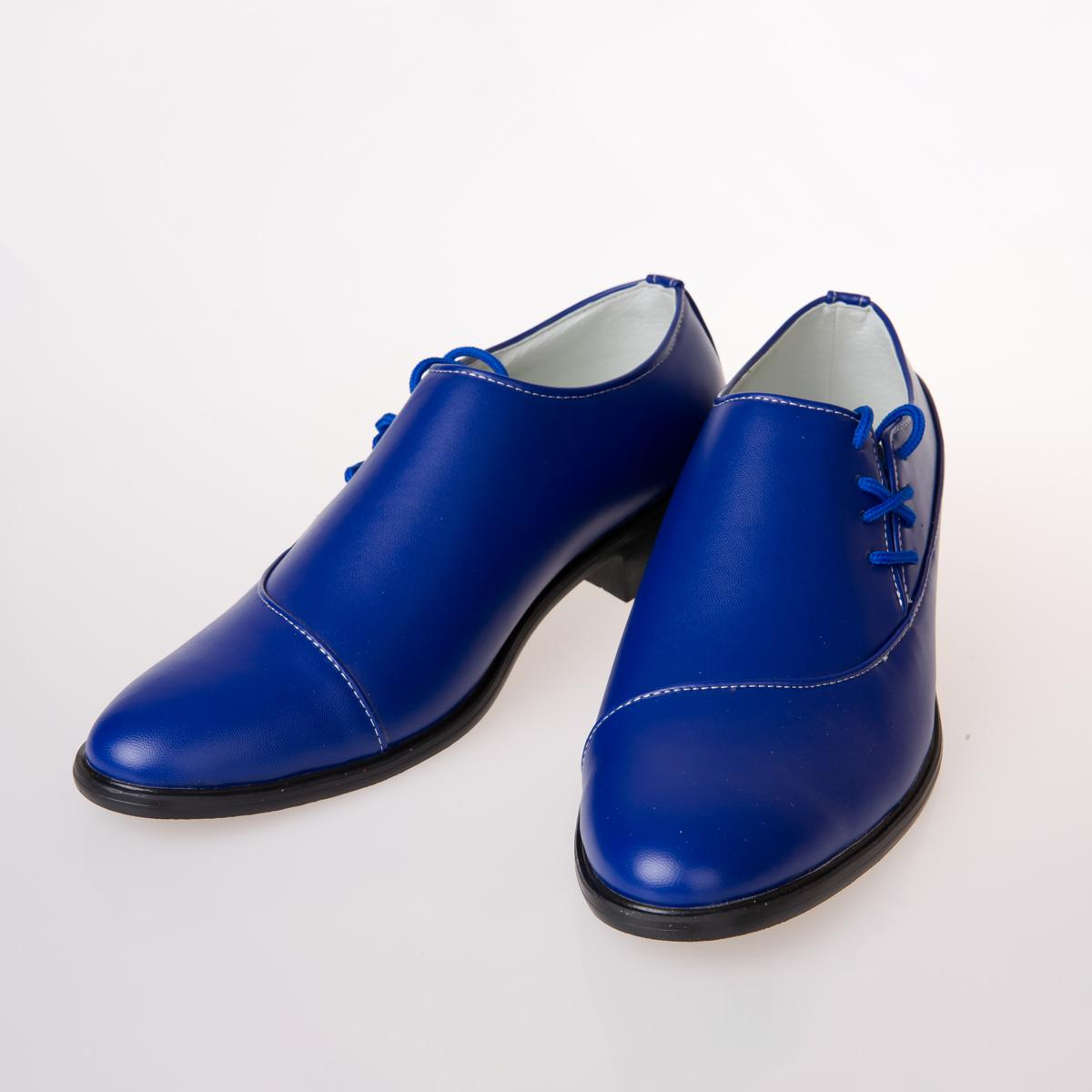 Wholesale New Fashion Men Royal Blue Leather Waterproof Shoe MenS Wedding Shoes Lace Up Dress