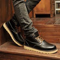 Al por mayor-Invierno botas de tobillo de los deportes de la moda casual de otoño zapatillas de deporte de la tendencia del ascensor de alta superior zapatos de los hombres zapatos